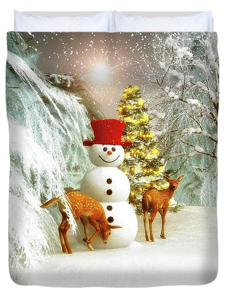 Deer And Snowman Duvet Cover