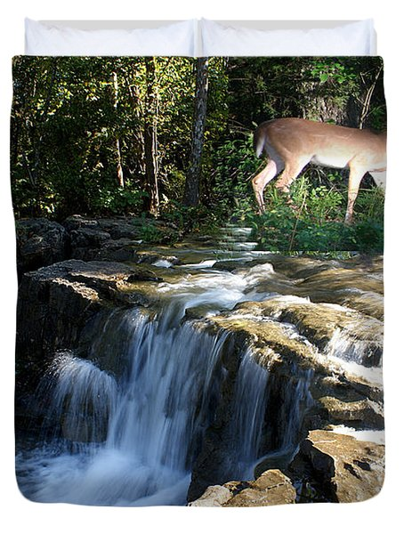 Duvet Cover featuring the photograph Deer At The Falls by Rick Friedle