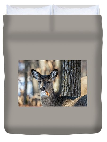 Duvet Cover featuring the photograph Deer At The Salad Bar by Paul Freidlund