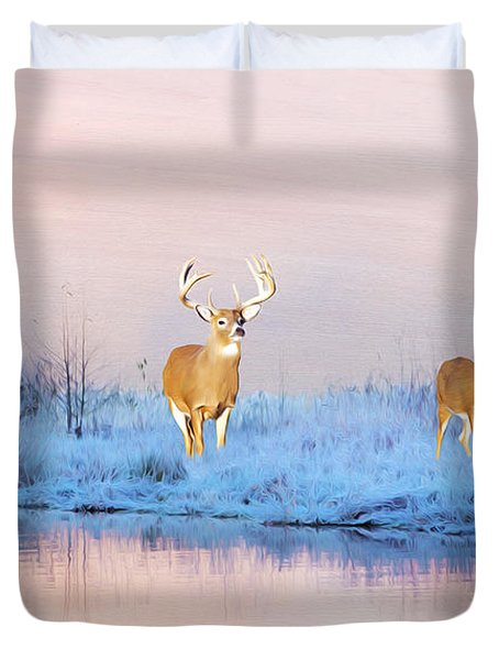 Deer At Winter Pond Duvet Cover