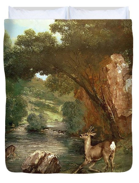 Deer By A River Duvet Cover by Gustave Courbet