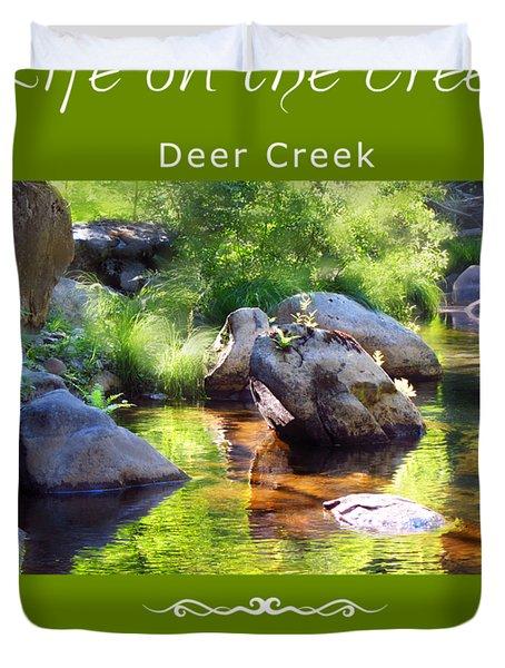 Deer Creek Ferns - White Text Duvet Cover