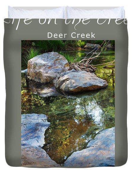 Deer Creek Point - White Text Duvet Cover