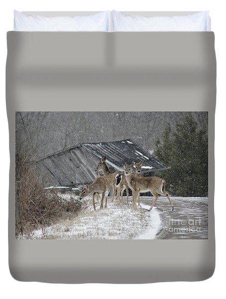 Deer Crossing Ahead Duvet Cover