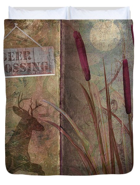 Deer Crossing  Duvet Cover