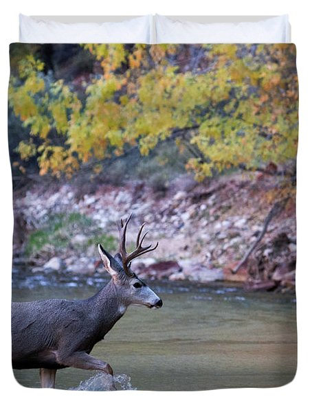 Deer Crossing River Duvet Cover