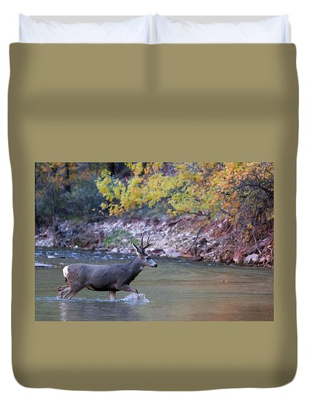 Deer Crossing River Duvet Cover