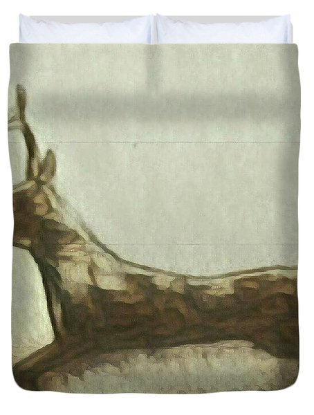 Duvet Cover featuring the painting Deer Energy by Margaret Welsh Willowsilk