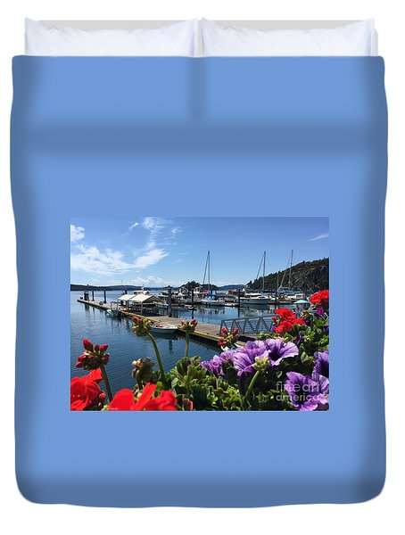 Deer Harbor By Day Duvet Cover by William Wyckoff