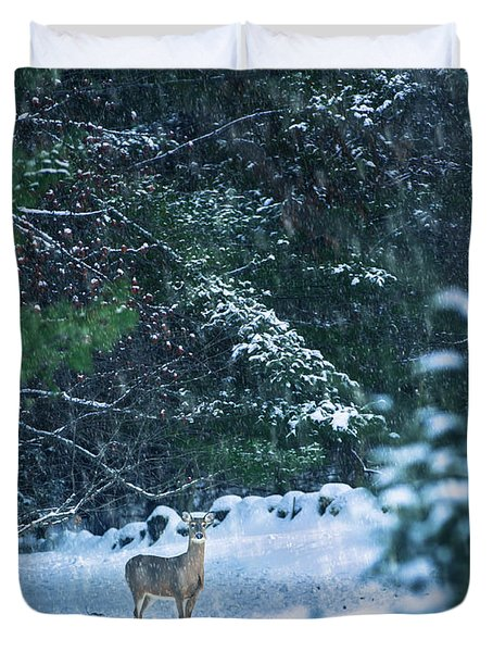 Deer In A Snowy Glade Duvet Cover
