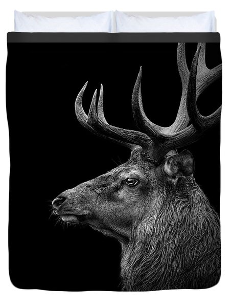 Deer In Black And White Duvet Cover by Lukas Holas