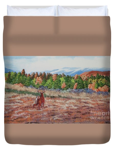 Deer In Fall Duvet Cover by Charlotte Blanchard