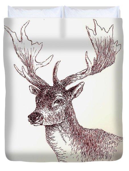 Deer In Ink Duvet Cover