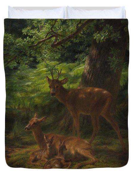 Deer In Repose Duvet Cover by Rosa Bonheur