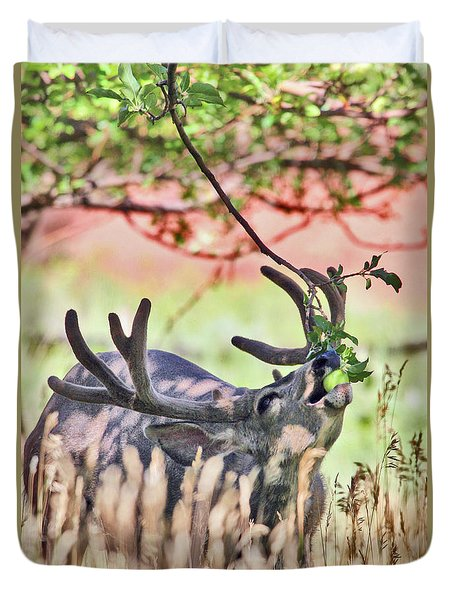 Deer In The Orchard Duvet Cover