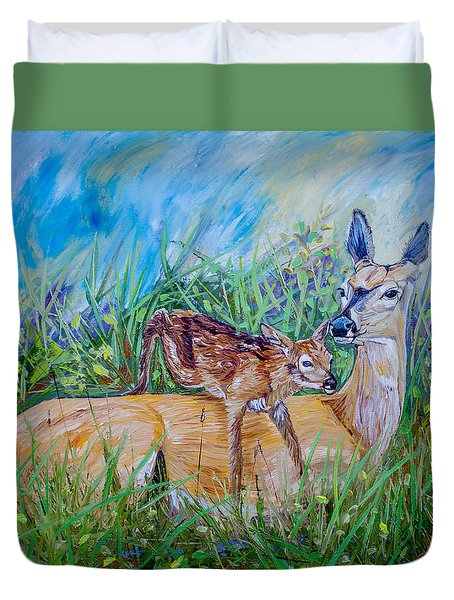 Deer Mom And Babe 24x18x1 Oil On Gallery Canvas Duvet Cover