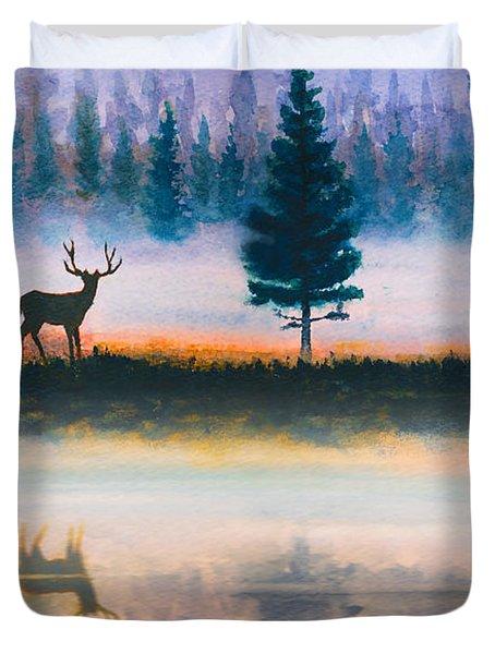 Deer Morning Duvet Cover