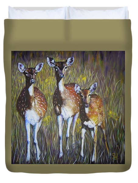Deer On Guard Duvet Cover