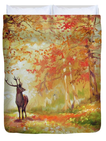 Deer On The Wooden Path Duvet Cover