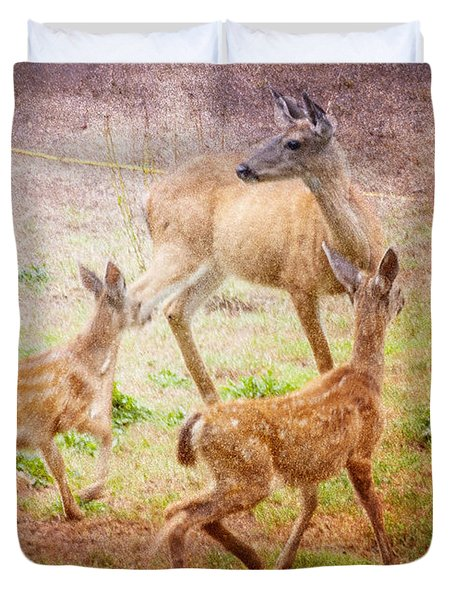 Deer On Vancouver Island Duvet Cover
