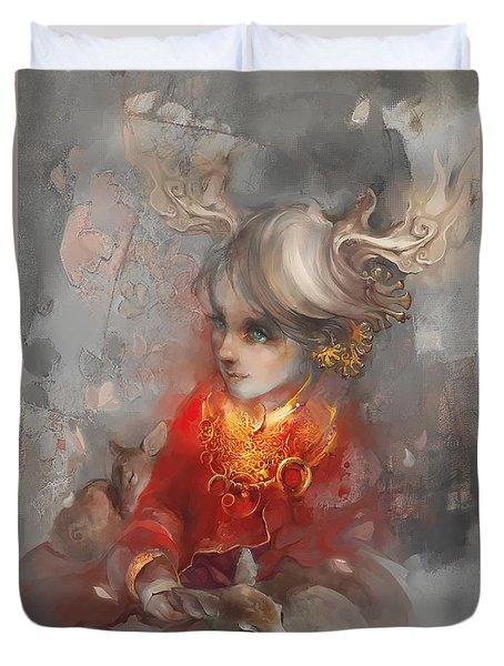 Duvet Cover featuring the digital art Deer Princess by Te Hu