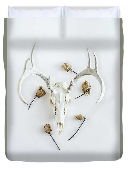 Duvet Cover featuring the photograph Deer Skull With Antlers And Roses by Stephanie Frey