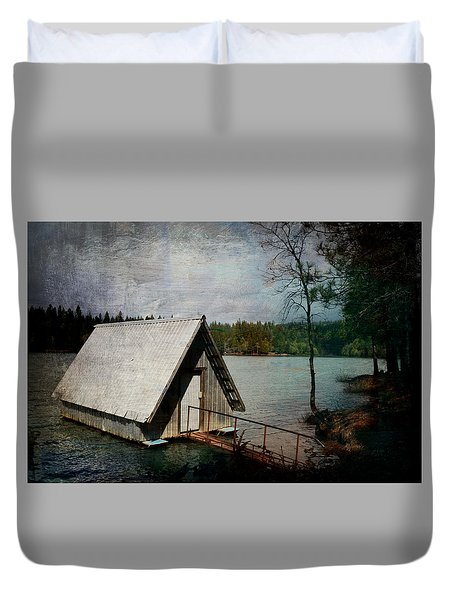 Dee's Little Boat House  Duvet Cover by Pamela Patch