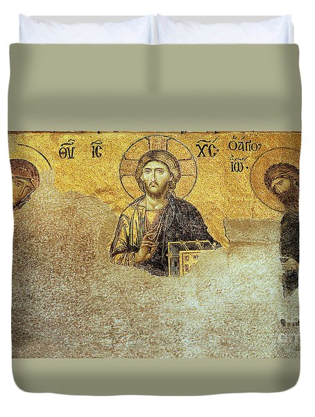 Deesis Mosaic Hagia Sophia-christ Pantocrator-judgement Day Duvet Cover