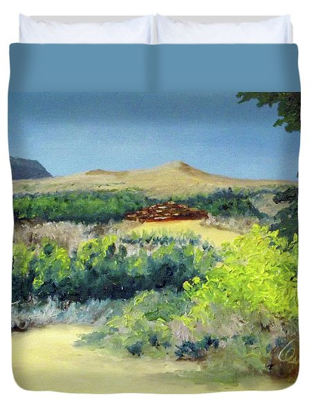 Defense Tower Ruins Duvet Cover