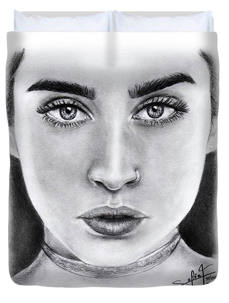Lauren Jauregui Drawing By Sofia Furniel  Duvet Cover