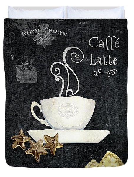 Deja Brew Chalkboard Coffee 2 Caffe Latte Shortbread Chocolate Cookies Duvet Cover by Audrey Jeanne Roberts