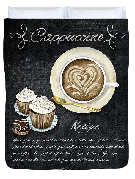 Deja Brew Chalkboard Coffee 3 Cappuccino Cupcakes Chocolate Recipe  Duvet Cover by Audrey Jeanne Roberts