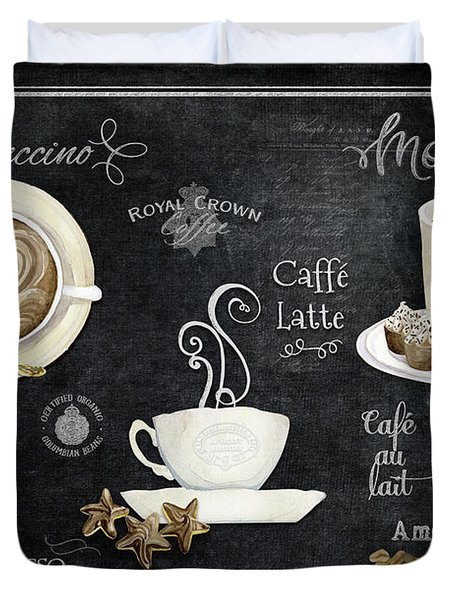 Duvet Cover featuring the painting Deja Brew Chalkboard Coffee Cappuccino Mocha Caffe Latte by Audrey Jeanne Roberts