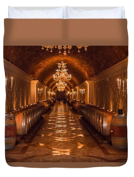 Del Dotto Wine Cellar Duvet Cover by Scott Campbell