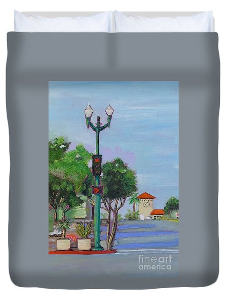 Duvet Cover featuring the painting Del Mar And Ole Vista by Mary Scott