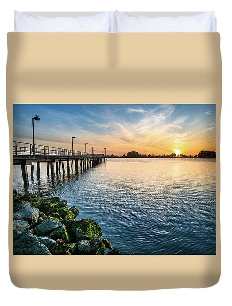 Del Norte Pier And Spring Sunset Duvet Cover by Greg Nyquist