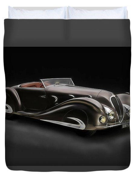 Duvet Cover featuring the digital art Delahaye 1930's Art In Motion by Marvin Blaine