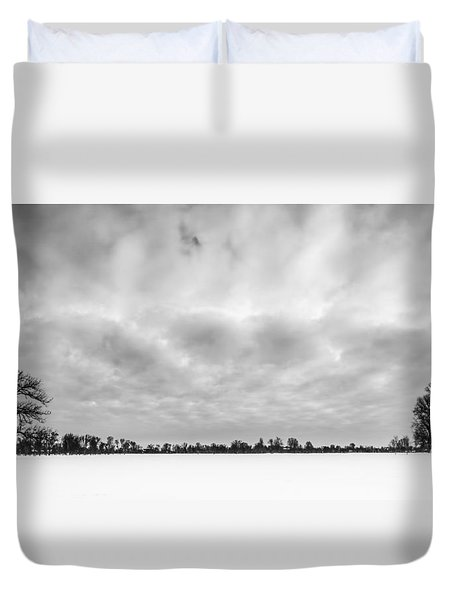 Duvet Cover featuring the photograph Delaware Park Winter  Meadow by Chris Bordeleau
