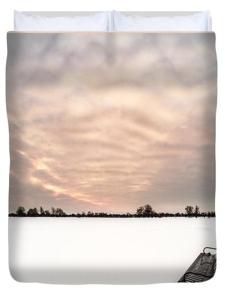 Duvet Cover featuring the photograph Delaware Park Winter Solace by Chris Bordeleau