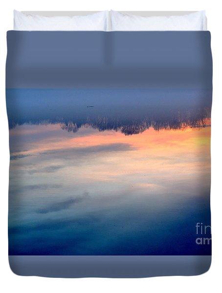 Delaware River Abstract Reflections Foggy Sunrise Nature Art Duvet Cover