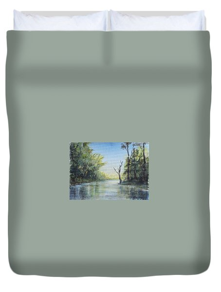 Duvet Cover featuring the painting Delaware River  by Katalin Luczay