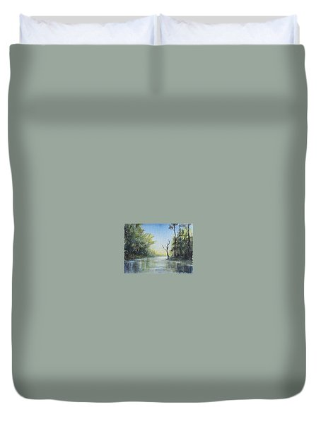 Duvet Cover featuring the painting Delaware River  by Luczay
