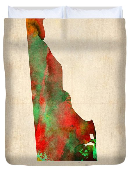 Delaware Watercolor Map Duvet Cover by Naxart Studio