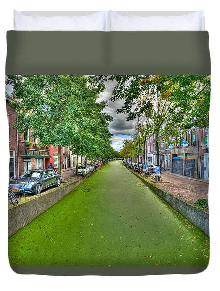 Duvet Cover featuring the photograph Delft Canals by Uri Baruch