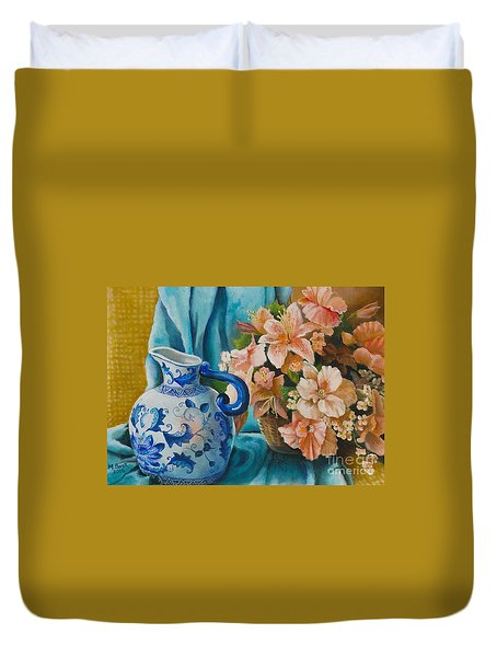 Delft Pitcher With Flowers Duvet Cover by Marlene Book