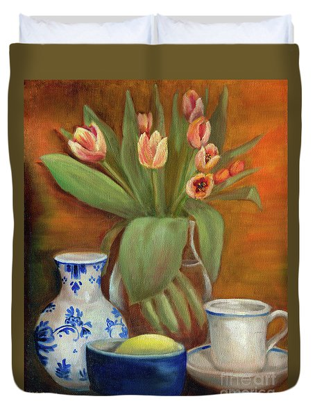 Delft Vase And Mini Tulips Duvet Cover by Marlene Book