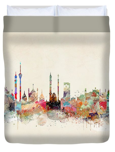 Duvet Cover featuring the painting Delhi City Skyline by Bri B