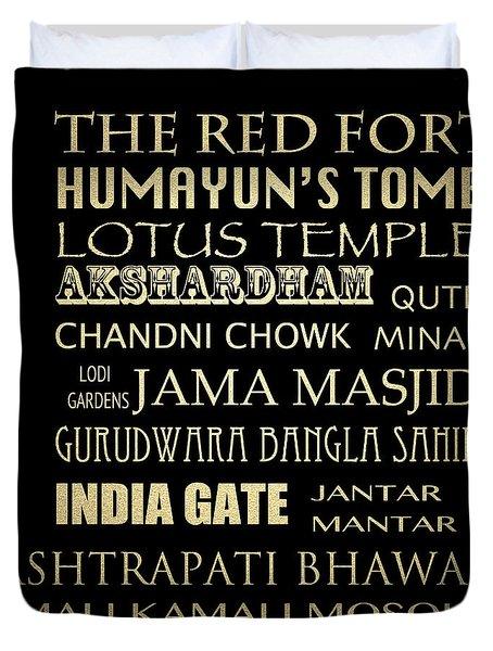 Delhi Famous Landmarks Duvet Cover