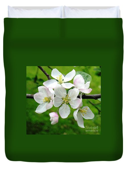 Delicate Apple Blossoms Duvet Cover