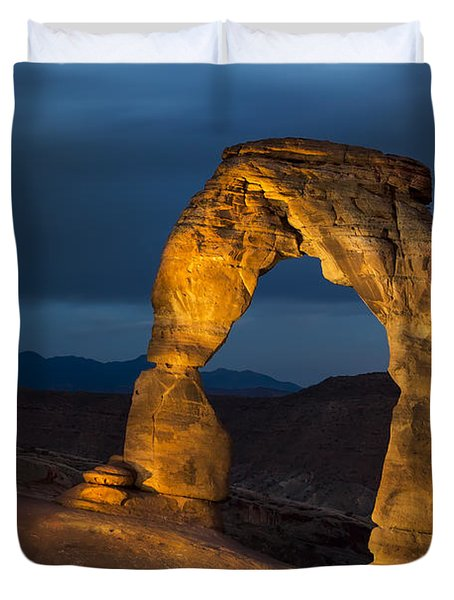 Delicate Arch At Night Duvet Cover by Adam Romanowicz